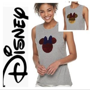 NEW DISNEY Minnie Mouse Flip Sequin Tank TOP Tee